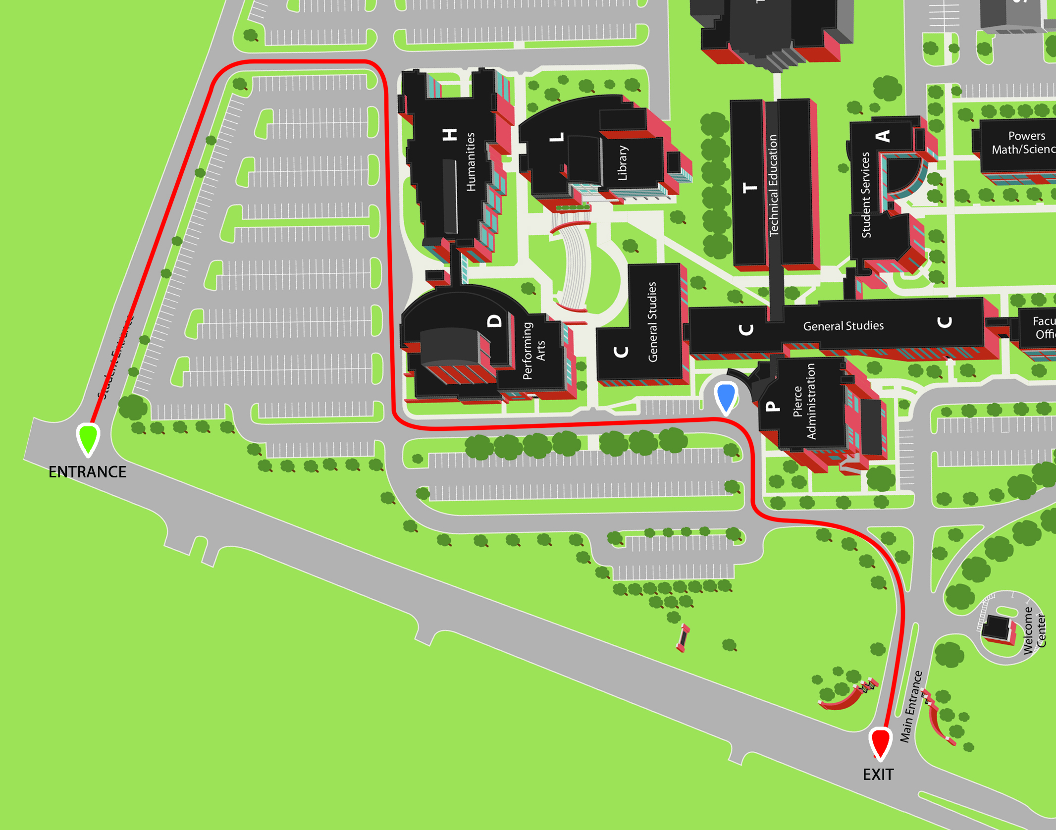 New Campus Map For Cap and Gown Pick Up